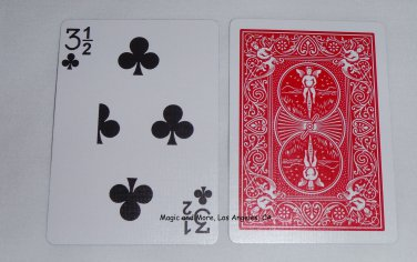 3 1/2 of Clubs, Bicycle Red Back, Gag Card (2041)