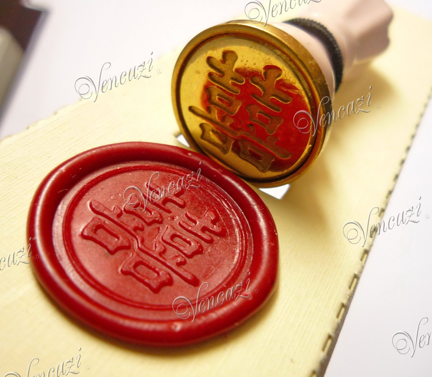 """Chinese Double Happiness (�)"" - 48mm Royal Wand Style Ceramic Mini Seal Hanger Pack (+GIFT!!!)"