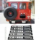 9 Replacement Max Pay Load Decals Land Cruiser Hi-Lux 4- Runner Toyota Jdm