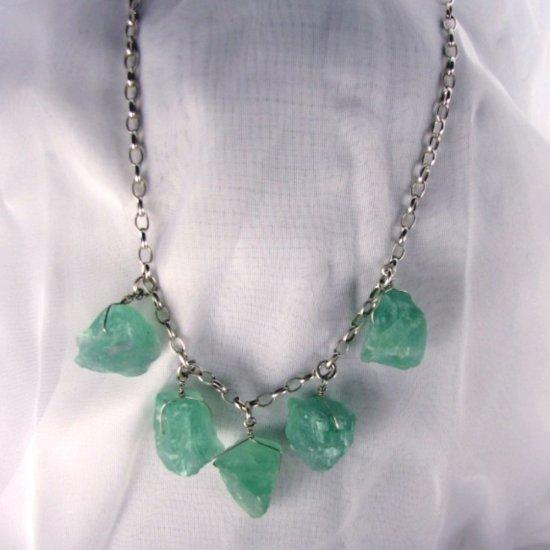 Rough Magic: green fluorite, silver
