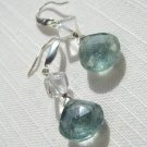 Raindrops: aquamarine, crystal quartz, silver