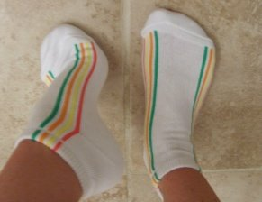 White with Stripes Used Socks