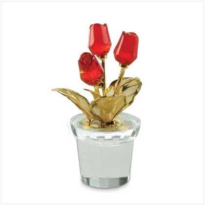 Mini Glass Red Roses in Pot