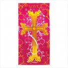 FLORAL CROSS BEACH TOWEL