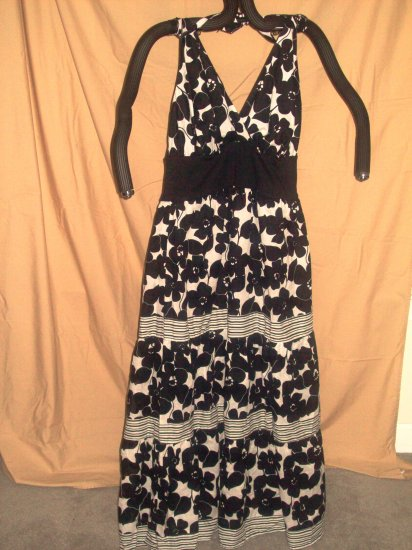 Lane Bryant Black & White Floor Length Halter Dress