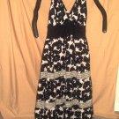 Lane Bryant Black & White Floor Length Halter Dress