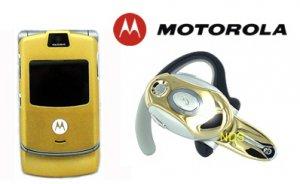 "Motorola V3 Razr ""Limited Edition - Gold"" Cellular Phone + H700 Gold Bluetooth (Unlocked)"