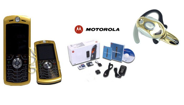 "Motorola L7 SLVR ""Limited Edition - Gold"" Ultra Slim Cellular Phone + H700 Gold Bluetooth (Unlocked)"