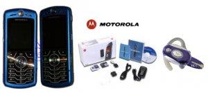 Motorola L7 SLVR Limited Edition - Metalic Blue Slim Cell Phone + H700 Blue Bluetooth (Unlocked)