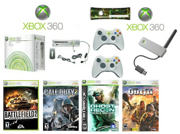 "Xbox 360 ""Warriors Gold Pack"" - 4 Games + 2 Wireless Controllers + Wireless Network Adapter"