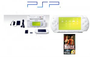 """Sony PSP Limited Edition """"Ceramic White"""" Bundle + One """"Hot"""" PSP Game"""