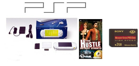 """Sony PlayStation Portable """"Ceramic White"""" PSP Giga Pack with """"2GB Memory Card"""" + One Hot Game"""