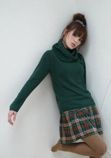 525 # Korean fashion turtleneck knit sweater wholesale- green