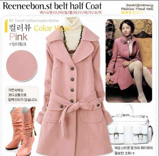SD6134 # fashion wholesale ;lapel Long classic cashmere coat - Pink