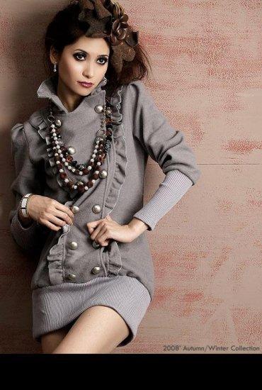 XF1215 # korea fashion double silver buckle lotus leaf coat - gray