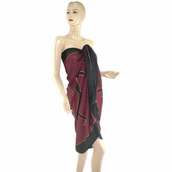 Burgundy Aborigines Batik Sarong Pareo Skirt Dress Wrap Shawl Beach Cover-Up (MP12)