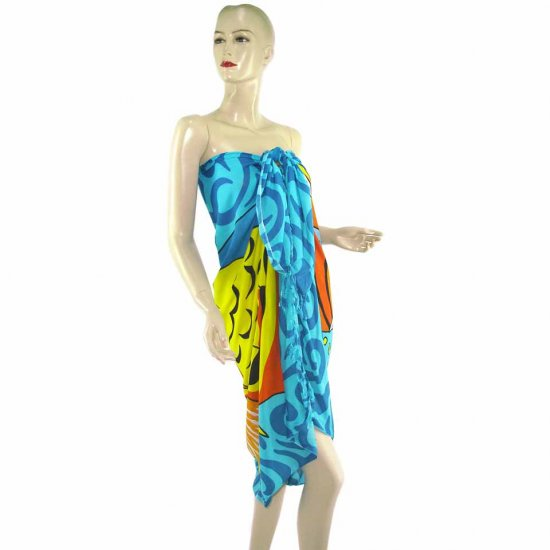Blue Marine Life Print Sarong Pareo Skirt Dress Wrap Shawl Beach Cover-Up (MP18)