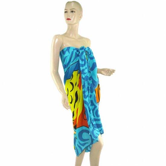 Blue Marine Life Print Sarong Pareo Skirt Dress Wrap Shawl Beach Cover-Up (MP27)