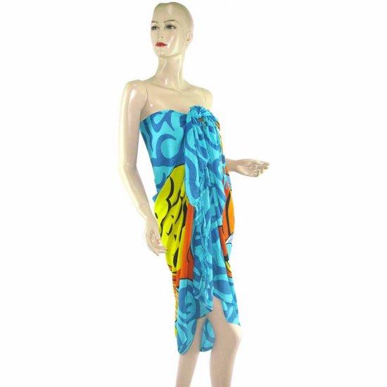 Blue Marine Life Print Sarong Pareo Skirt Dress Wrap Shawl Beach Cover-Up (MP30)