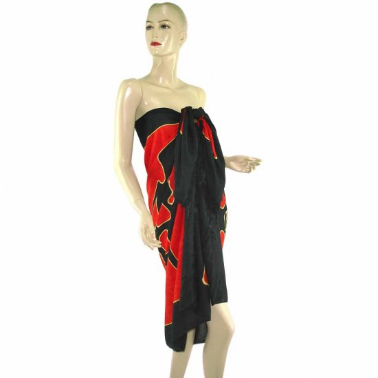 Red Black Abstract Aborigines Batik Sarong Pareo Skirt Dress Wrap Shawl Beach Cover-Up (MP31)
