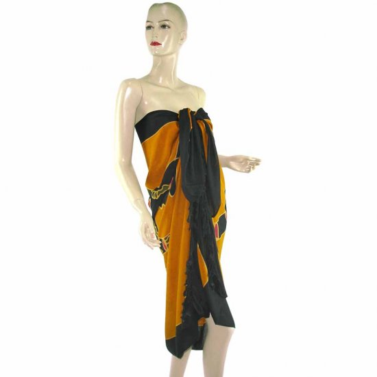 Brown Black Aborigines Batik Sarong Pareo Skirt Dress Wrap Shawl Beach Cover-Up (MP32)