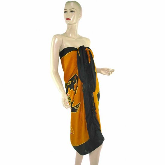 Brown Black Aborigines Batik Sarong Pareo Skirt Dress Wrap Shawl Beach Cover-Up (MP39)
