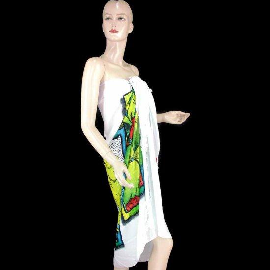 White Palm Fish Shell Hibiscus Print Sarong Pareo Skirt Dress Wrap Shawl Beach Cover-Up (MP85)