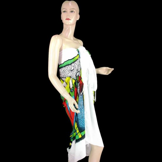 White Palm Fish Shell Hibiscus Print Sarong Pareo Skirt Dress Wrap Shawl Beach Cover-Up (MP86)