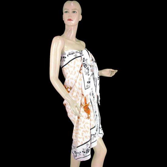 White Orange Gecko Print Sarong Pareo Skirt Dress Wrap Shawl Beach Cover-Up (MP87)
