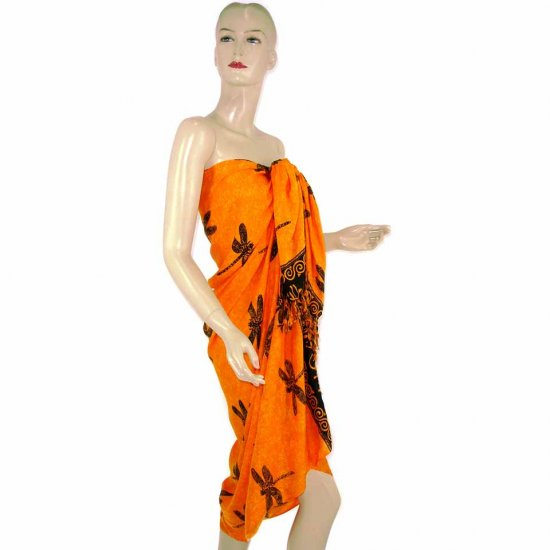 Orange Black Dragonfly Print Sarong Pareo Skirt Dress Wrap Shawl Beach Cover-Up (MP96)