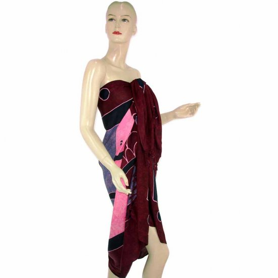 Burgundy Pink Fish Batik Sarong Pareo Skirt Dress Wrap Shawl Beach Cover-Up (MP106)