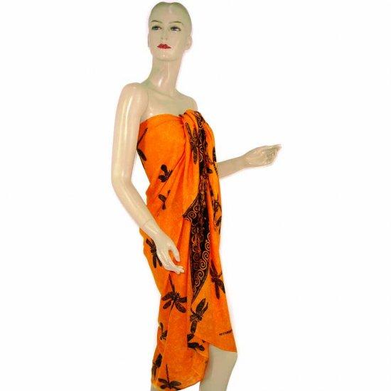 Orange Black Dragonfly Print Sarong Pareo Skirt Dress Wrap Shawl Beach Cover-Up (MP108)