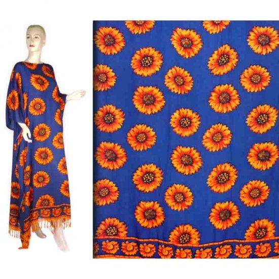 Blue Orange Sunflower Floral Kaftan Caftan Dress 1X 2X 3X 4X 5X (FK49)
