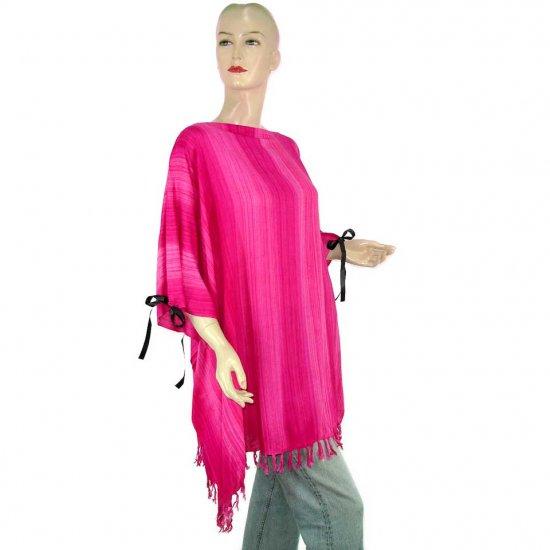 Pink Stripes Poncho Tunic Kaftan Caftan 1X 2X 3X 4X 5X (PAB57)