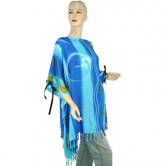 Hippie Tie-Dye Batik Poncho Tunic Kaftan Caftan Blouse 1X 2X 3X 4X 5X (PAB66)