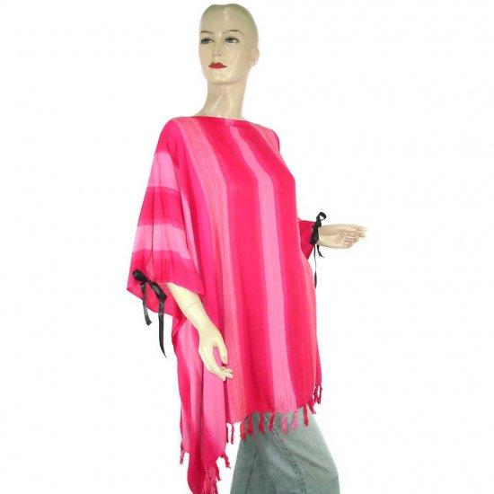 Pink Stripes Poncho Tunic Kaftan Caftan 1X 2X 3X 4X 5X (PAB42)
