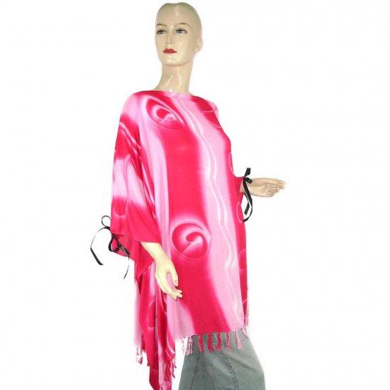 Hippie Tie-Dye Batik Poncho Tunic Kaftan Caftan Blouse 1X 2X 3X 4X 5X (PAB51)