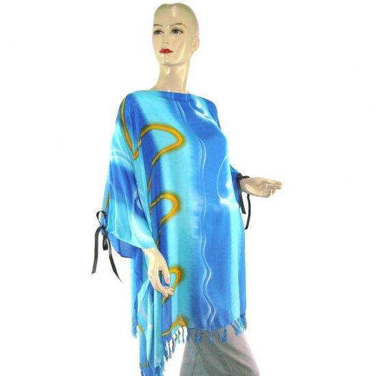 Hippie Tie-Dye Batik Poncho Tunic Kaftan Caftan Blouse 1X 2X 3X 4X 5X (PAB16)