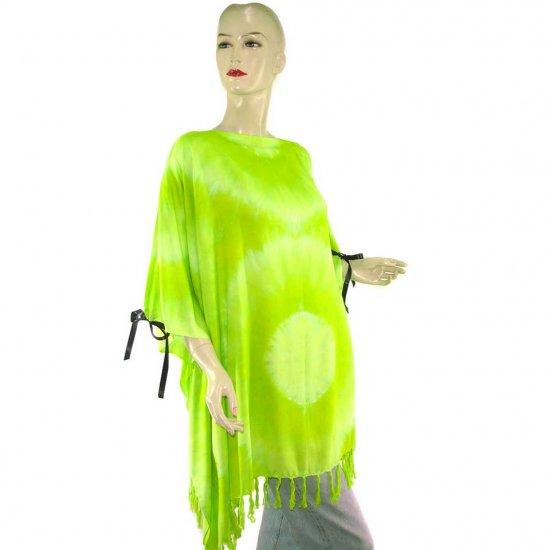 Hippie Tie-Dye Batik Poncho Tunic Kaftan Caftan Blouse 1X 2X 3X 4X 5X (PAB22)