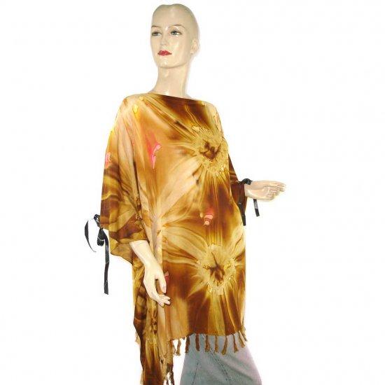 Hippie Tie-Dye Batik Poncho Tunic Kaftan Caftan Blouse 1X 2X 3X 4X 5X (PAB23)