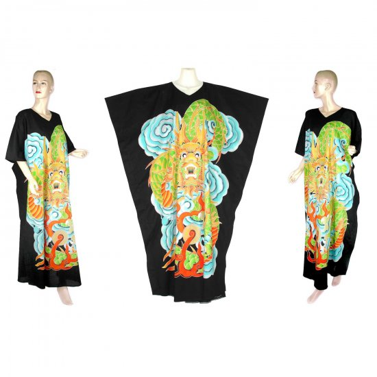 Hand-Drawn Black Dragon Batik COTTON Kaftan Caftan Dress 1X 2X 3X 4X 5X (K27)