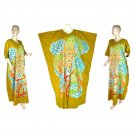 Hand-Drawn Gold Dragon Batik COTTON Kaftan Caftan Dress 1X 2X 3X 4X 5X (K28)