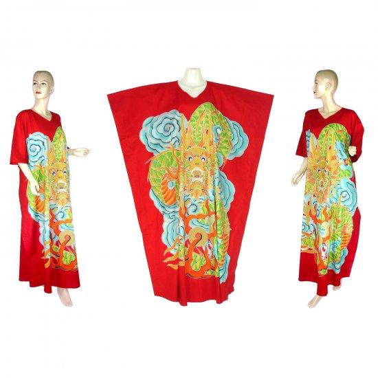 Hand-Drawn Red Dragon Batik COTTON Kaftan Caftan Dress 1X 2X 3X 4X 5X (K26)