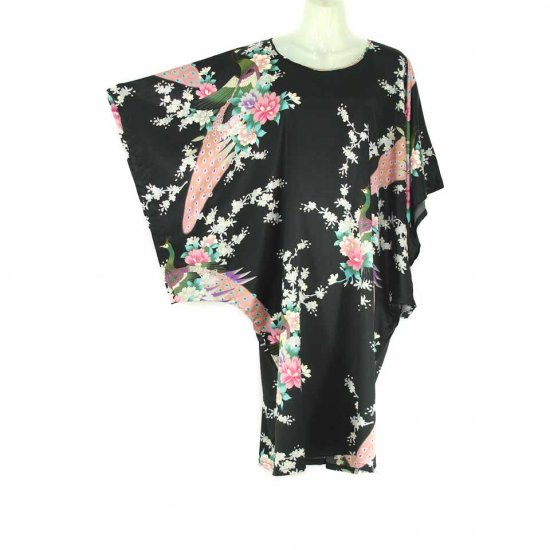 Black Oriental Floral Peacock Kimono Sleeve Tunic Top Kaftan L XL 1X (MC224)