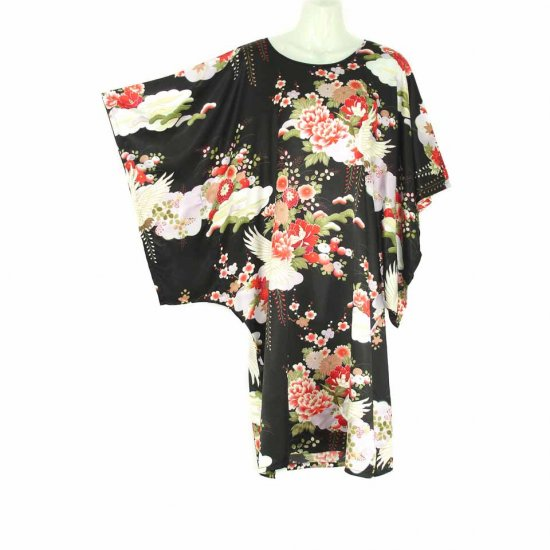 Black Oriental Floral Crane Kimono Sleeve Tunic Top Kaftan L XL 1X (MC220)