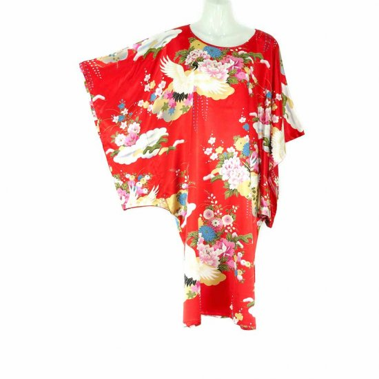 Red Oriental Floral Crane Kimono Sleeve Tunic Top Kaftan L XL 1X (MC218)