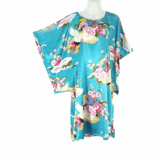 Blue Oriental Floral Crane Kimono Sleeve Tunic Top Kaftan L XL 1X (MC217)