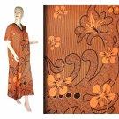 Orange Hibiscus Floral Print Kaftan Caftan Dress 1X 2X 3X 4X (MC209)