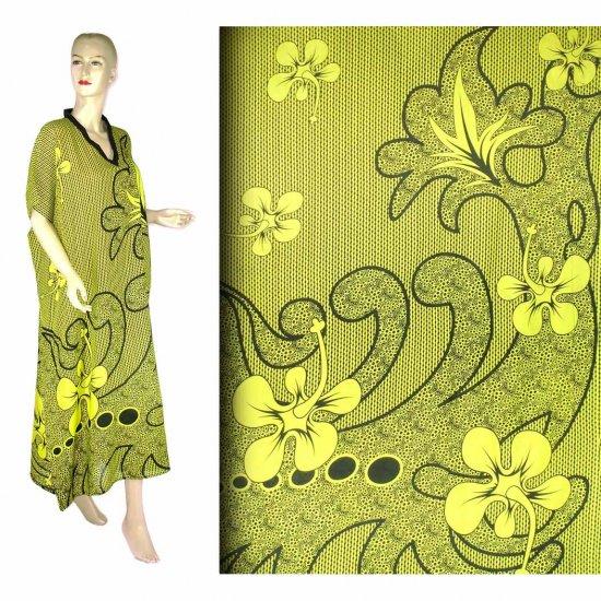 Yellow Hibiscus Floral Print Kaftan Caftan Dress 1X 2X 3X 4X (MC212)