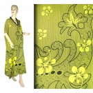 Yellow Hibiscus Floral Print Kaftan Caftan Dress 1X 2X 3X 4X (MC212)